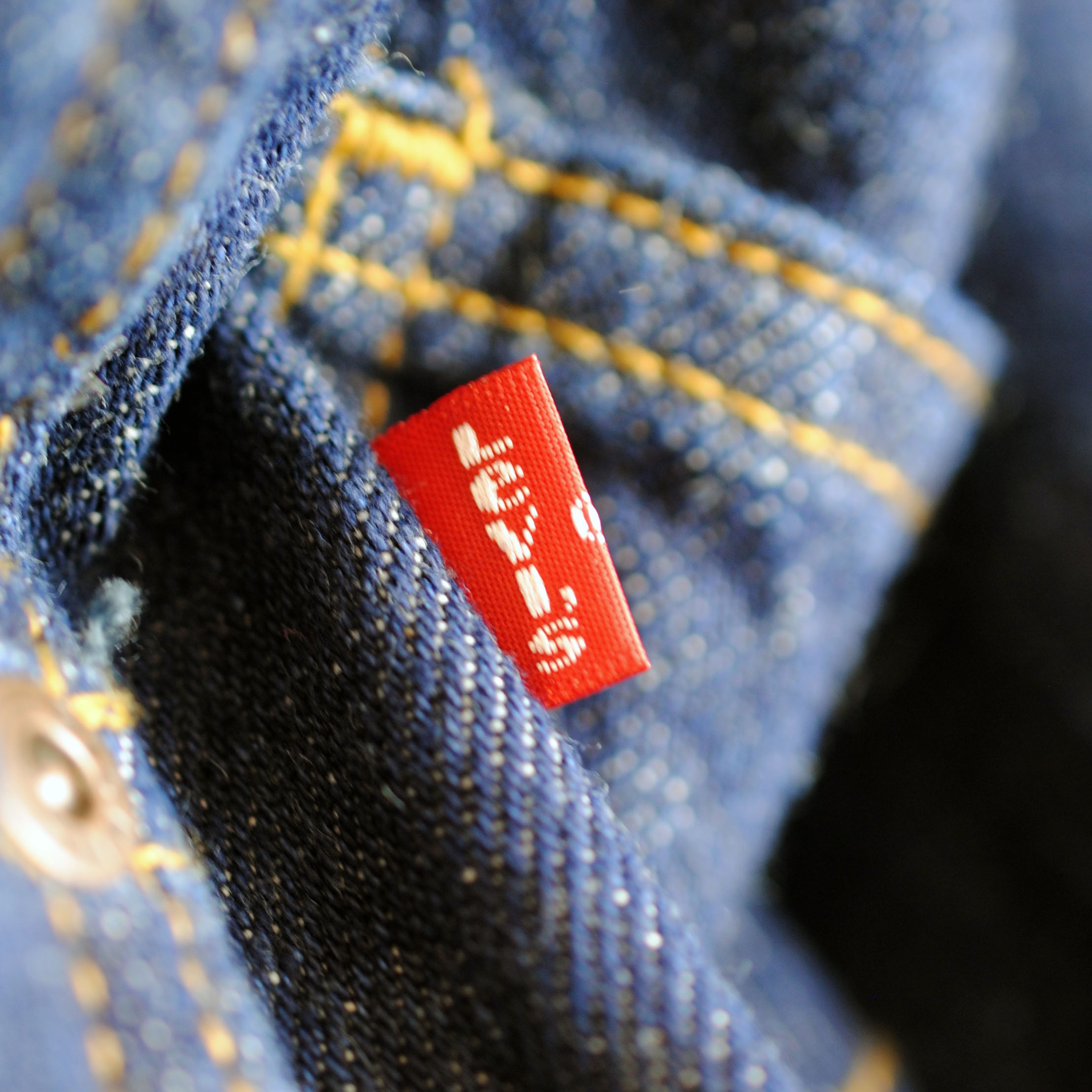 Red Levi Woven Trims Label on Jean