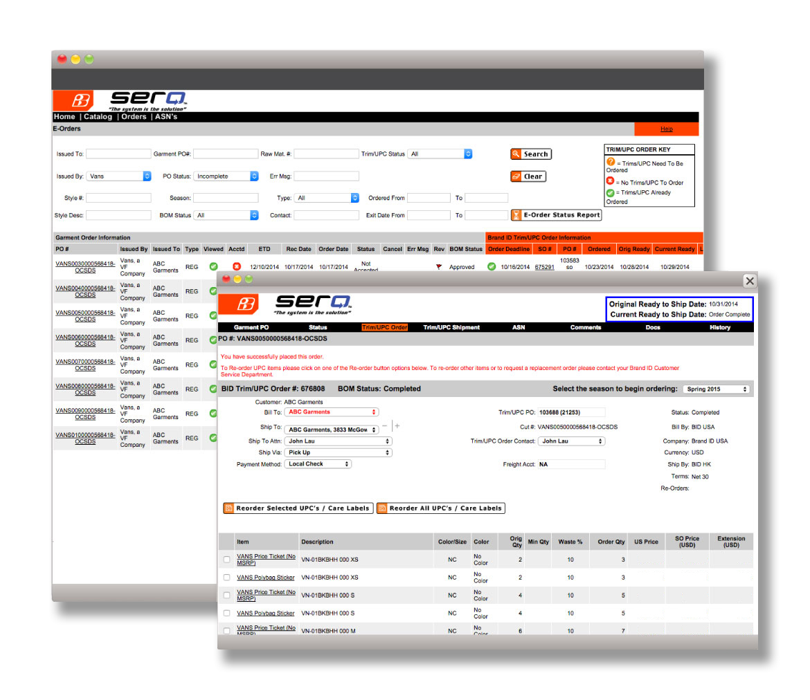 SERO® - Real-time Ordering System with Change Management